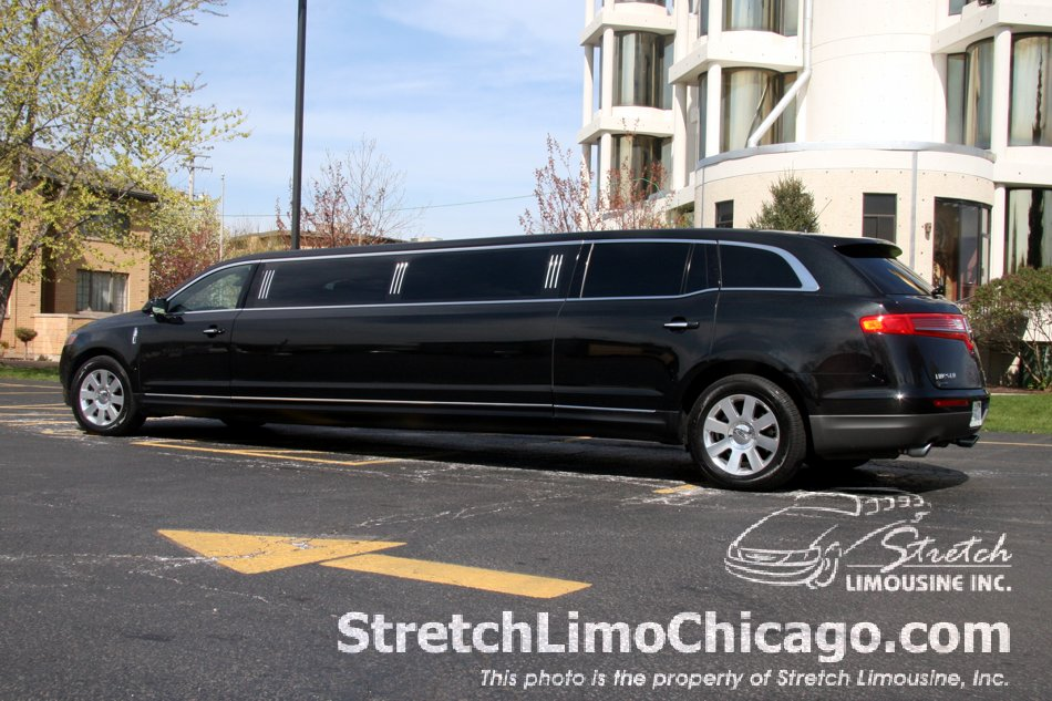 Black Lincoln MKT stretch limousine exterior side view