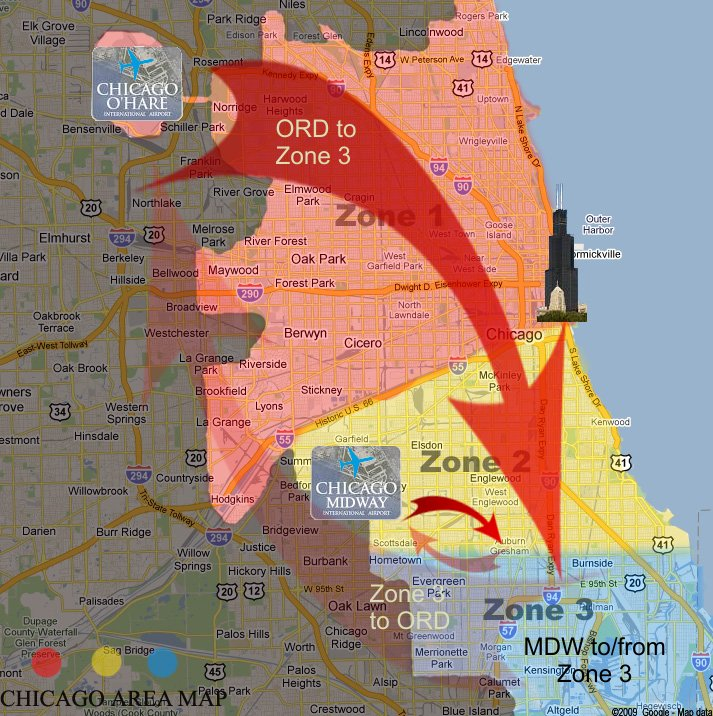 chicago limo rate zones